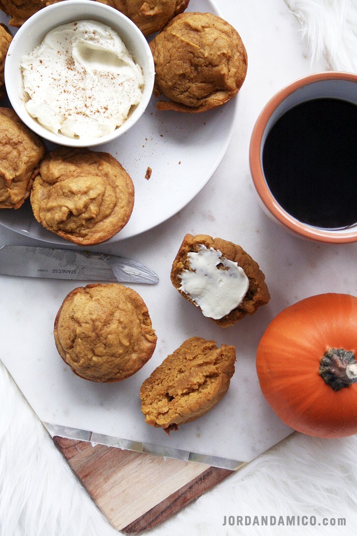 Delicious pumpkin muffins with a sweet cream cheese spread