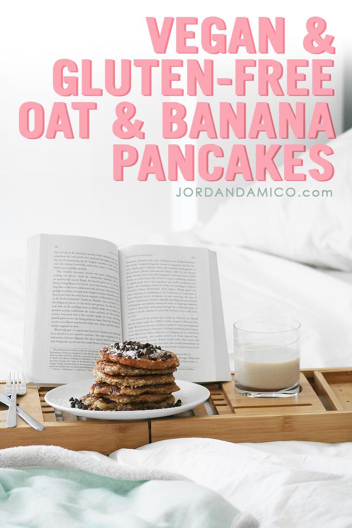 Vegan and gluten-free oat and banana pancakes