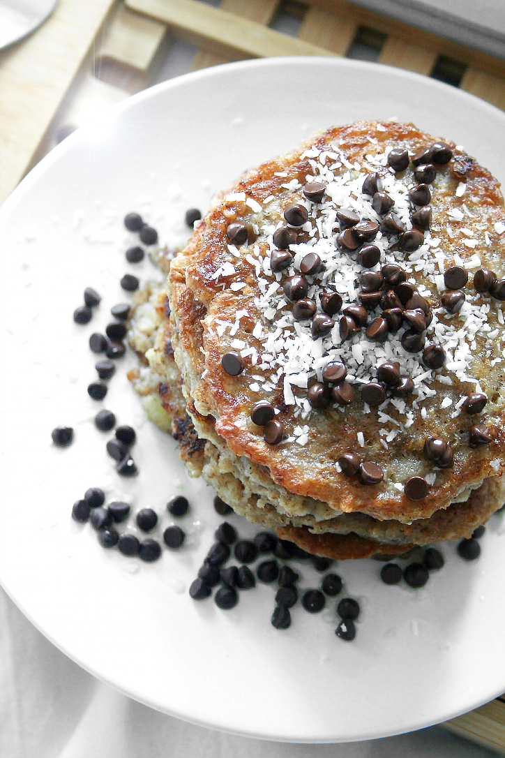 Vegan and gluten-free oat and banana pancakes